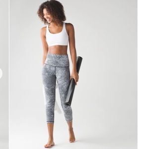 Lululemon Wunder Under Crop (Hi-Rise) Spray White